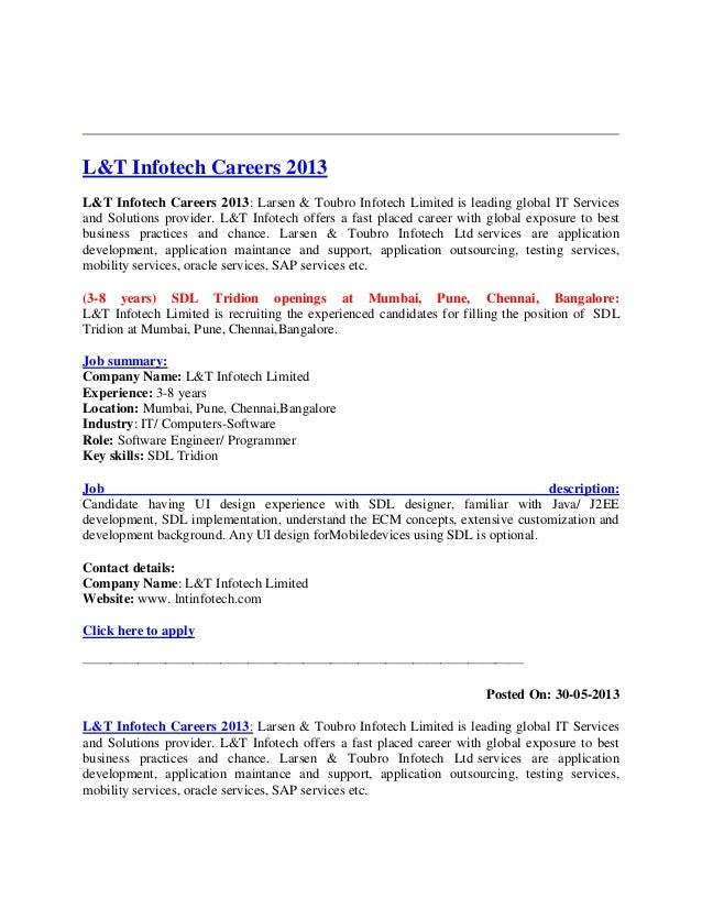 L&t infotech careers 2013