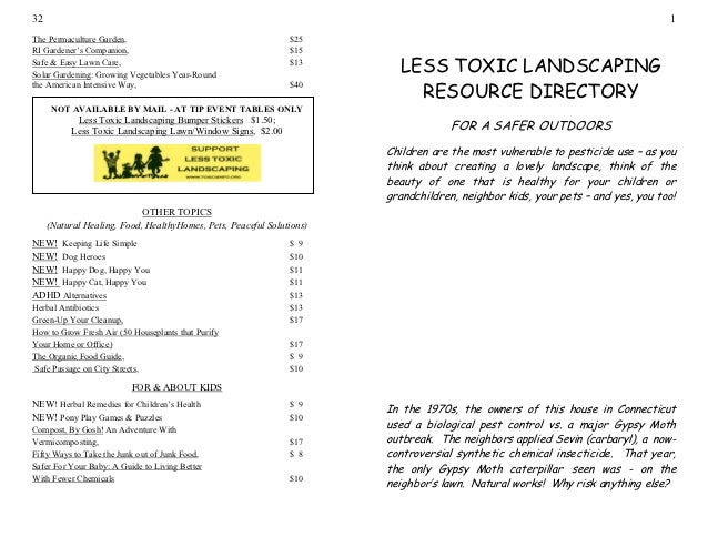 Less Toxic Landscaping Resource Directory: For a Safer Outdoors