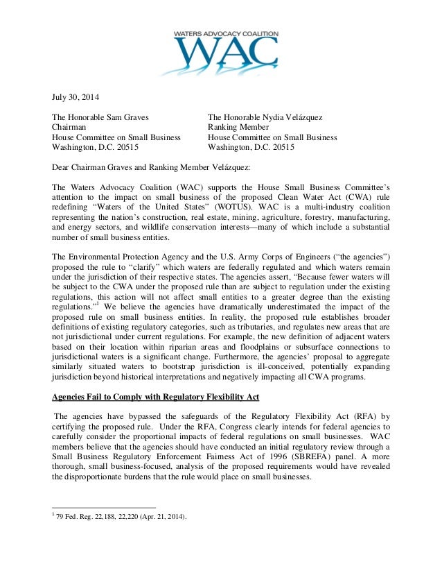 LTR Wac For Small Business CMTE Hearing 7-30-14