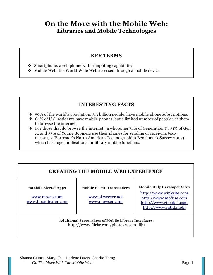 Libraries and Mobile Web Handout