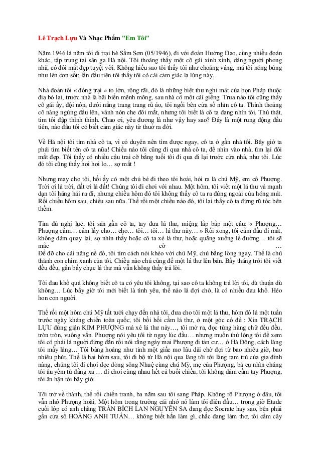 """Lê Trạch Lựu Và Nhạc Phẩm """"Em Tôi"""" Năm 1946 là năm tôi đi trại hè Sầm Sơn (05/1946), đi với đoàn Hướng Đạo, cùng nhiều đoà..."""