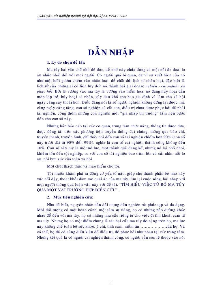 Luaän vaên toát nghieäp ngaønh xaõ hoäi hoïc khoùa 1998 - 2002                                        DAÃN NHAÄP       1. ...