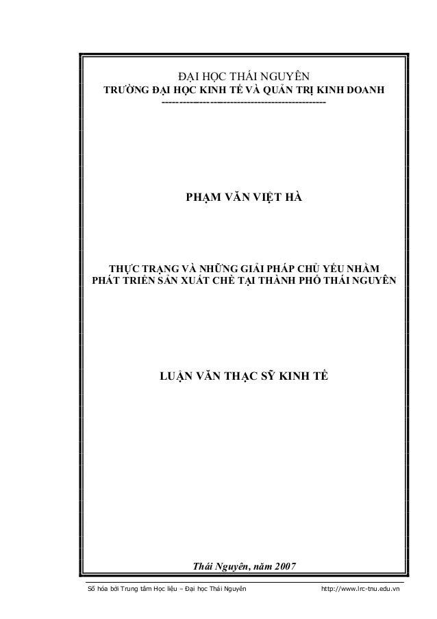 Số hóa bởi Trung tâm Học liệu – Đại học Thái Nguyên http://www.lrc-tnu.edu.vn ĐẠI HỌC THÁI NGUYÊN TRƯỜNG ĐẠI HỌC KINH TẾ V...