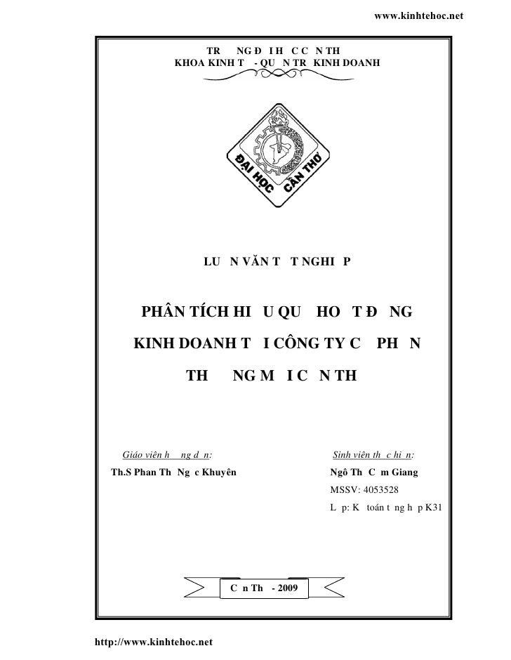 www.kinhtehoc.net                    TRƯỜNG ĐẠI HỌC CẦN TH Ơ                KHOA KINH TẾ - QUẢN TRỊ KINH DOANH            ...