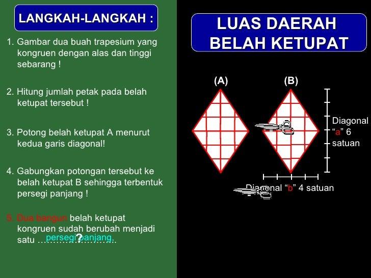 LUAS DAERAH  BELAH KETUPAT LANGKAH-LANGKAH : 1. Gambar dua buah trapesium yang kongruen dengan alas dan tinggi sebarang ! ...
