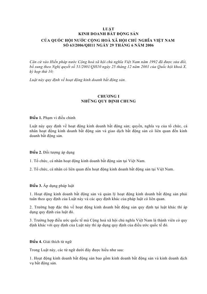 LUẬT                             KINH DOANH BẤT ĐỘNG SẢN      CỦA QUỐC HỘI NƯỚC CỘNG HOÀ XÃ HỘI CHỦ NGHĨA VIỆT NAM        ...