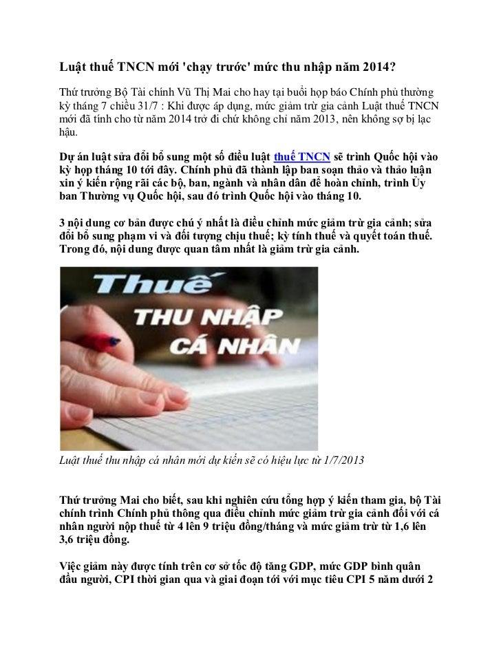Luật thuế TNCN mới chạy trước mức thu nhập năm 2014?Thứ trưởng Bộ Tài chính Vũ Thị Mai cho hay tại buổi họp báo Chính phủ ...