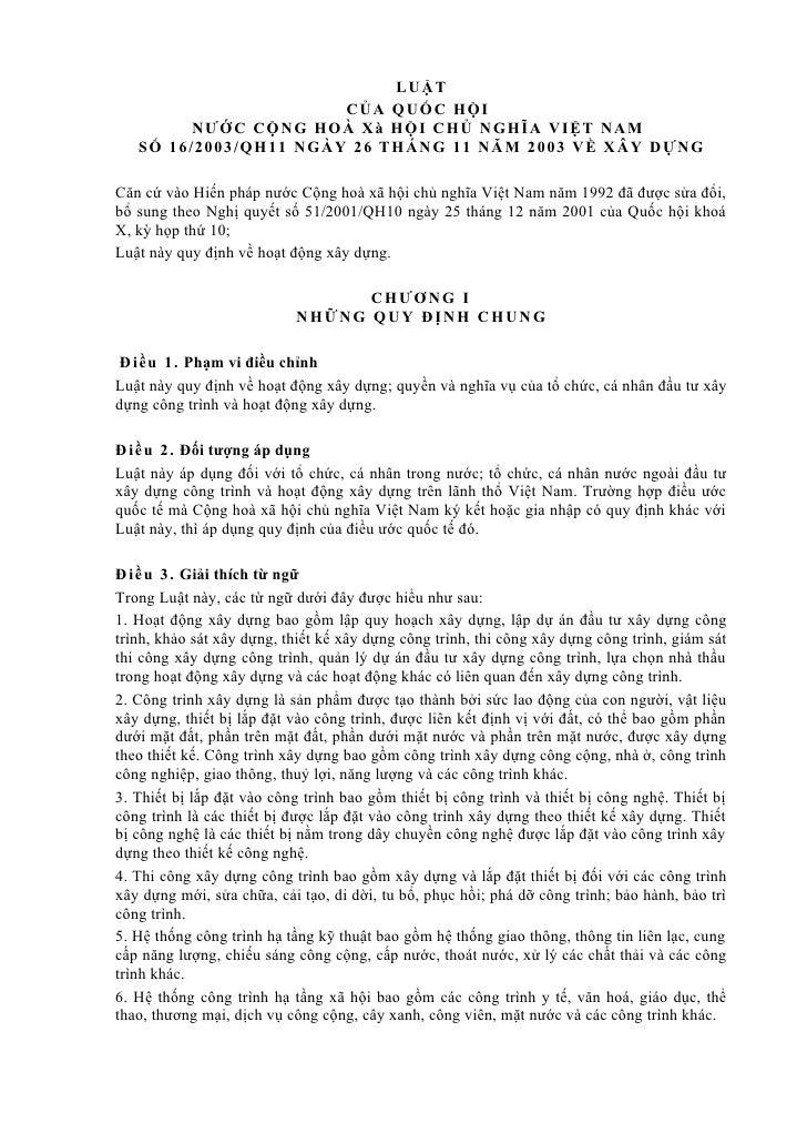 LUẬT                          C ỦA QU ỐC HỘI          NƯ ỚC C ỘN G HOÀ X à HỘI C HỦ N GHĨ A VI Ệ T NA M   S Ố 16/2003/QH11...