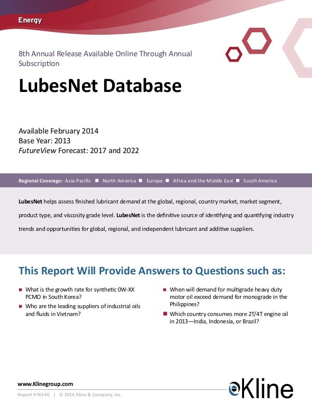 Kline's LubesNet Database is Now Available!