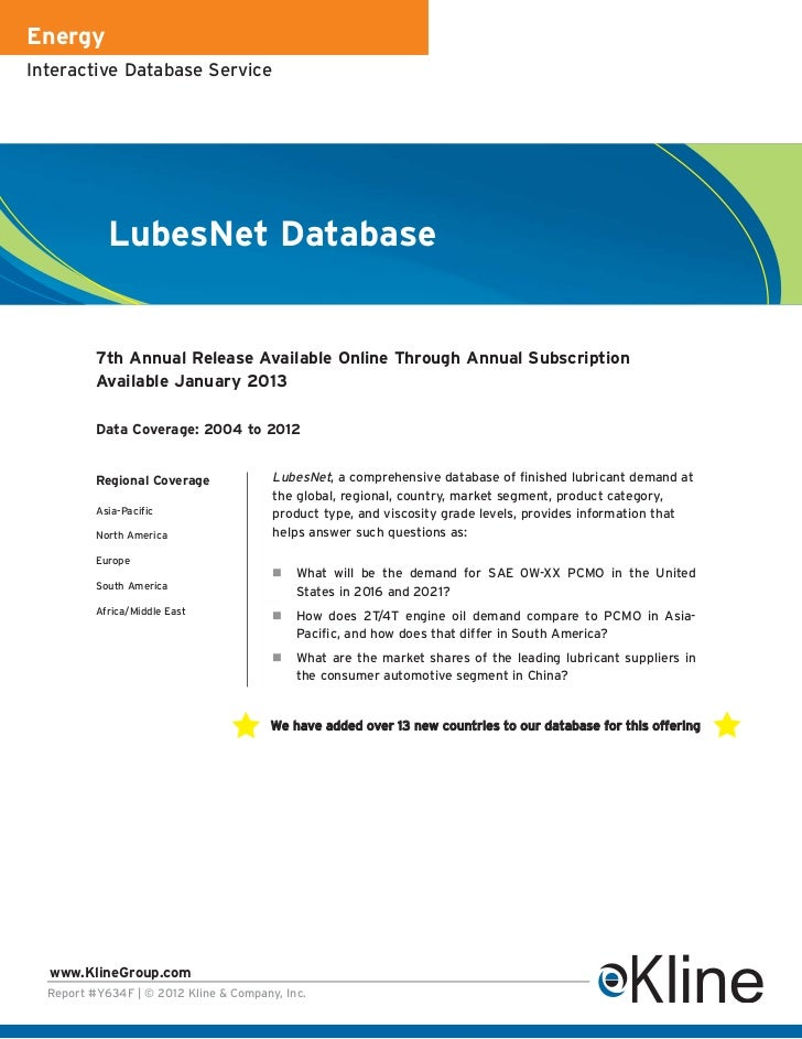 EnergyInteractive Database Service            LubesNet Database          7th Annual Release Available Online Through Annua...