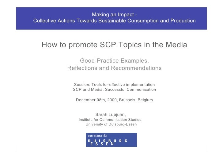 Making an Impact -           Collective Actions Towards Sustainable Consumption and Production                   How to pr...