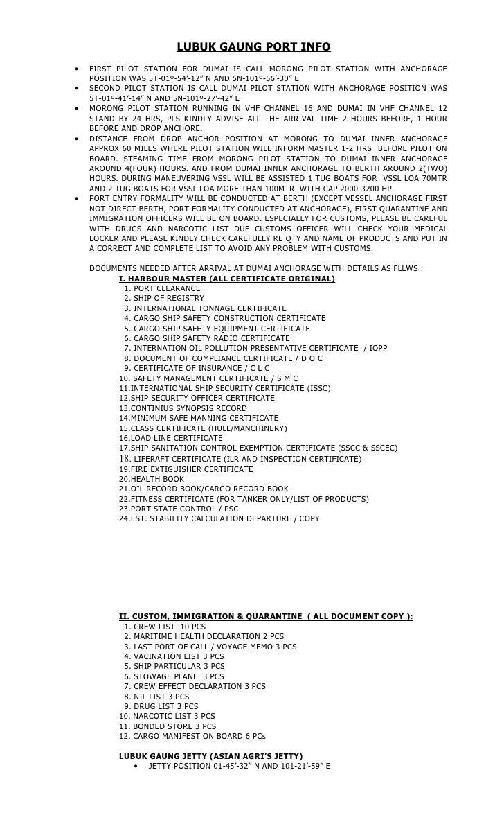 Lubuk Gaung Port Info Detail