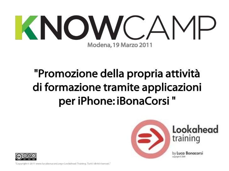 """Modena, 19 Marzo 2011                """"Promozione della propria attività                di formazione tramite applicazioni ..."""