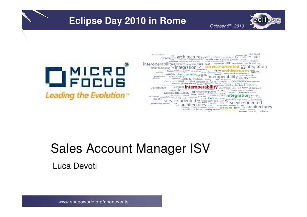 Eclipse Day 2010 in Rome    October 5th, 2010     Sales Account Manager ISV Luca Devoti     www.spagoworld.org/openevents