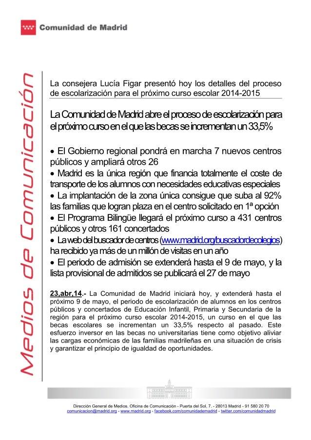 Lucía figar presentó los detalles del proceso de escolarización para el próximo curso escolar 2014 2015