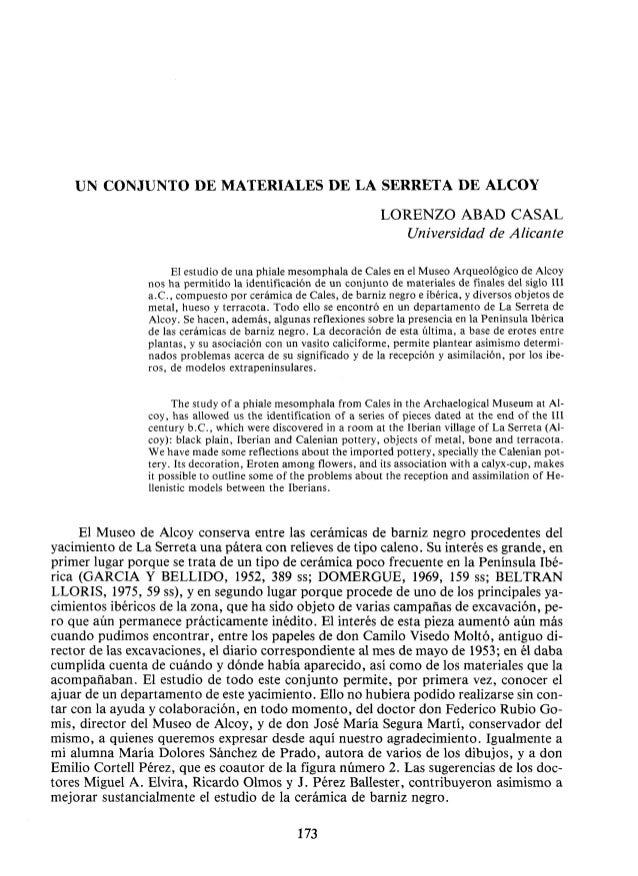 UN CONJUNTO DE MATERIALES DE LA SERRETA DE ALCOY                                                                 LORENZO A...