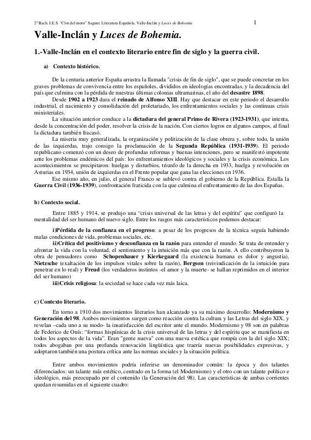 "2º Bach. I.E.S. ""Clot del moro"" Sagunt. Literatura Española. Valle-Inclán y Luces de Bohemia  1  Valle-Inclán y Luces de B..."