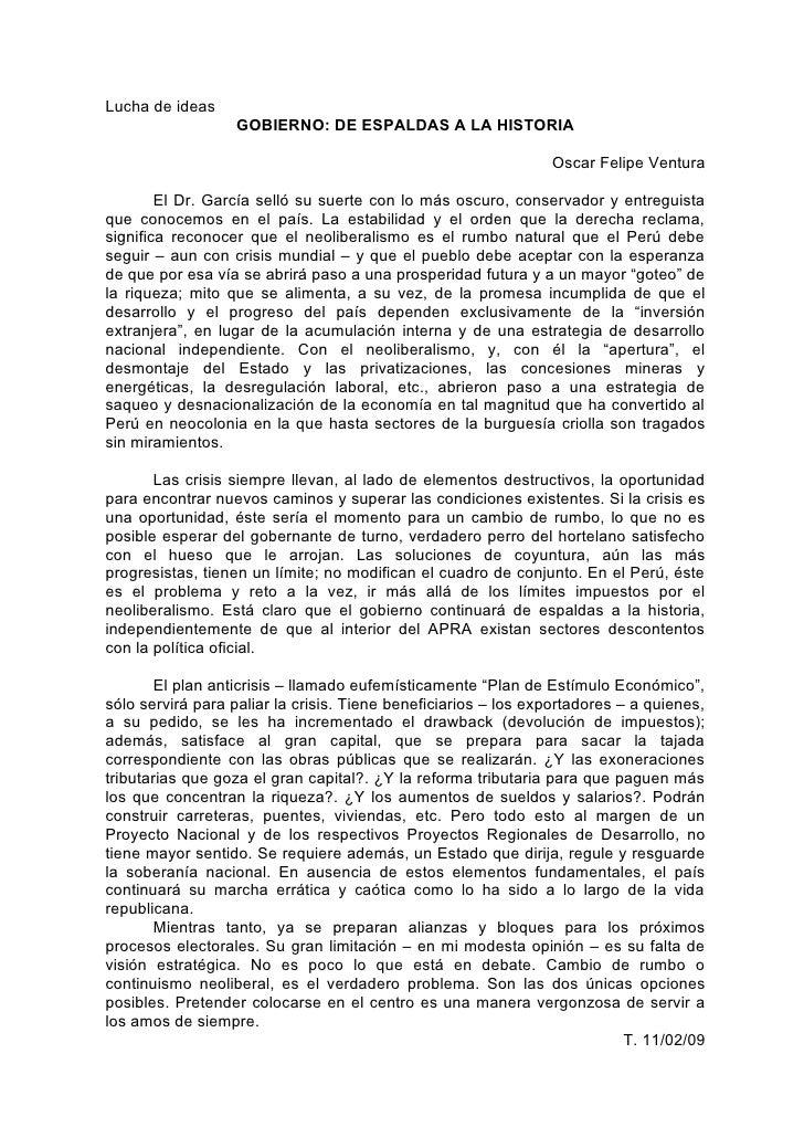 Lucha de ideas                    GOBIERNO: DE ESPALDAS A LA HISTORIA                                                     ...