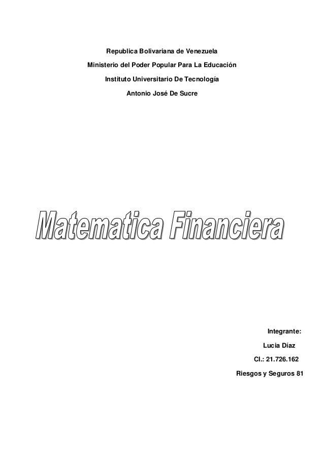 Republica Bolivariana de Venezuela Ministerio del Poder Popular Para La Educación Instituto Universitario De Tecnología An...