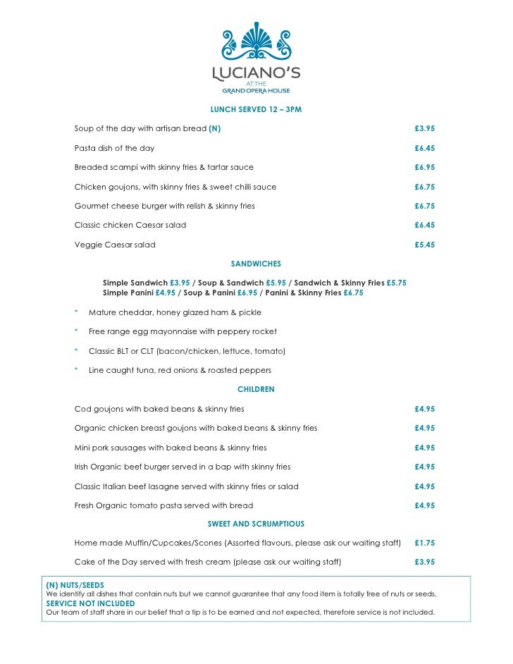 Places to Eat in Belfast? Lucianio's Cafe Bar Menu