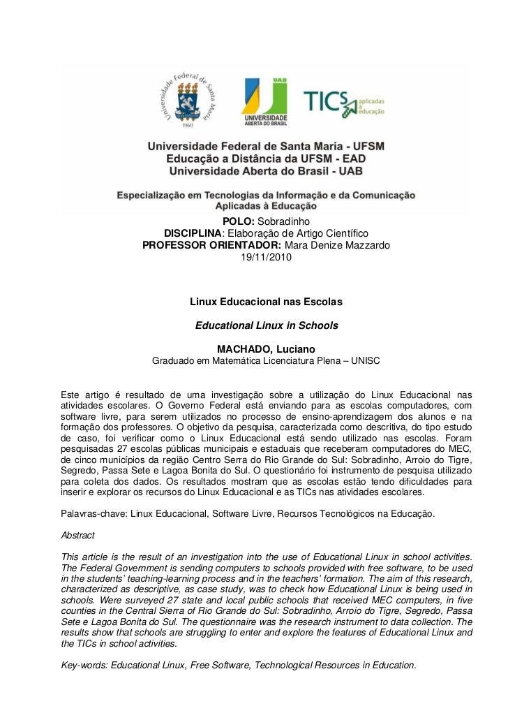 POLO: Sobradinho                       DISCIPLINA: Elaboração de Artigo Científico                    PROFESSOR ORIENTADOR...