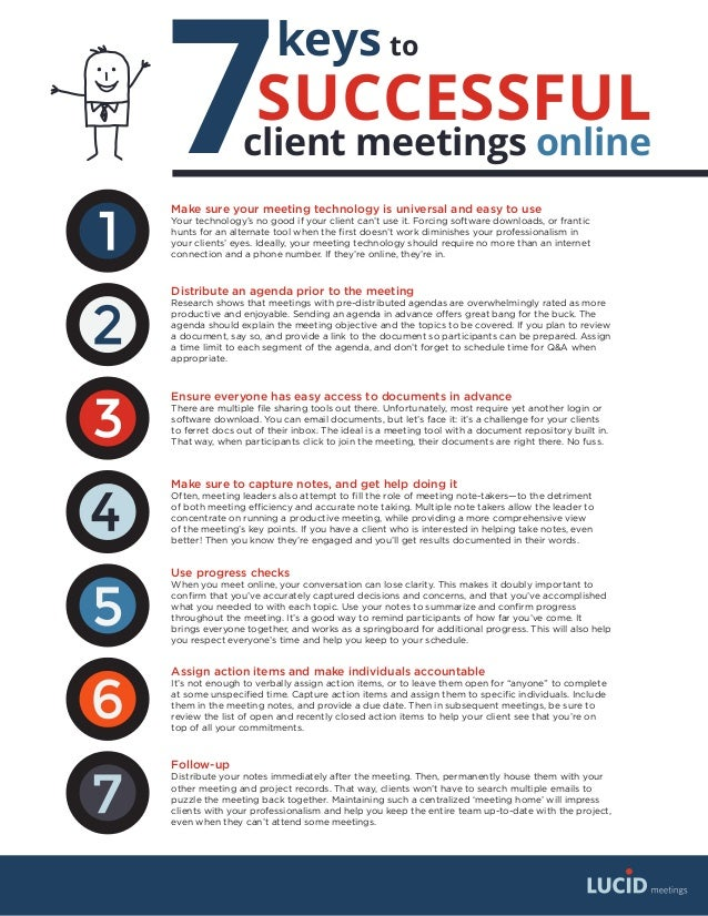 7 keys SUCCESSFUL client meetings online to Make sure your meeting technology is universal and easy to use Your technology...