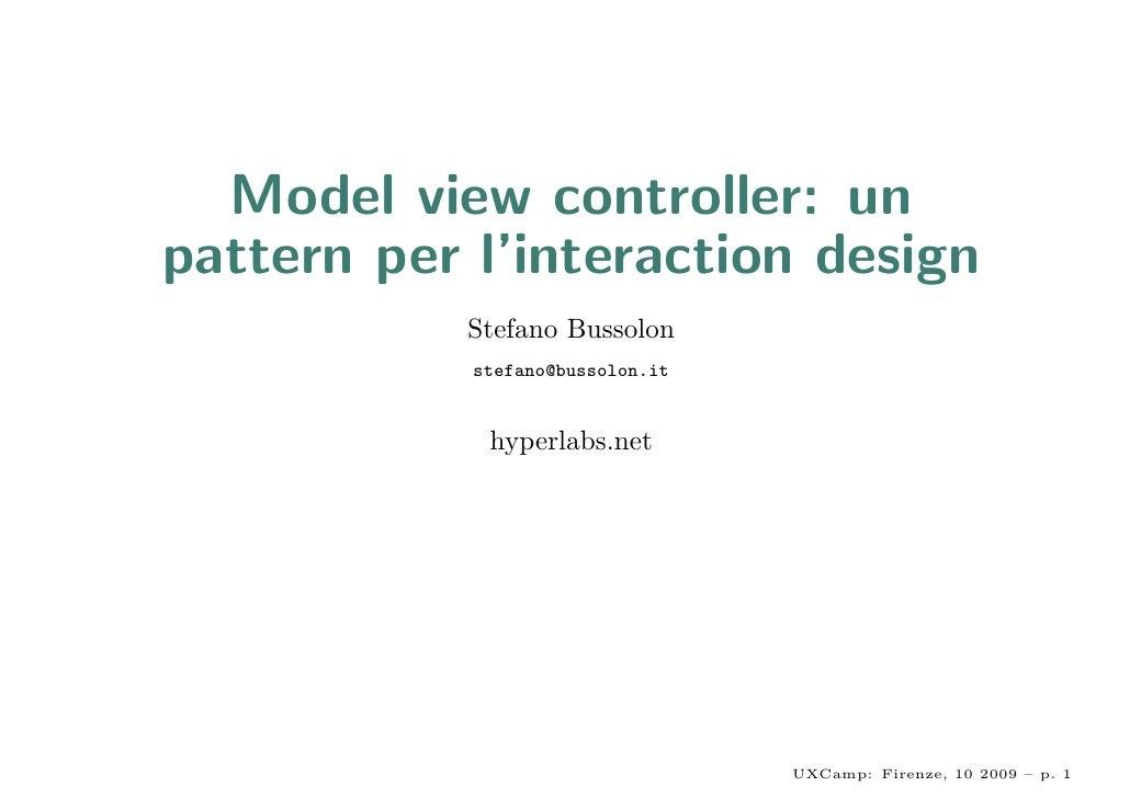 Model view controller: un pattern per l'interaction design