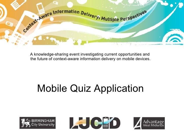 LUCID demonstrator: Mobile Quiz