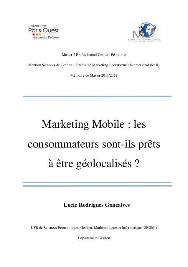 Master 2 Professionnel Gestion-EconomieMention Sciences de Gestion – Spécialité Marketing Opérationnel International (MOI)...