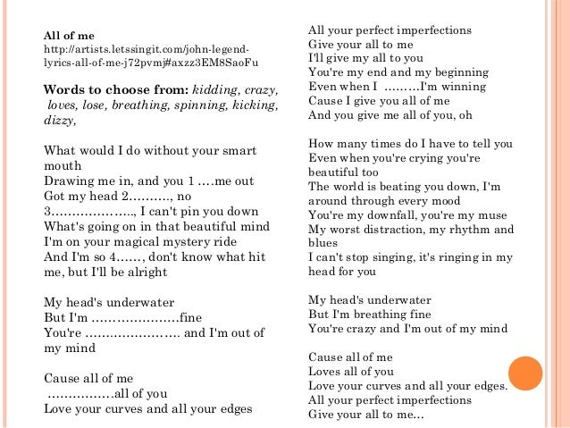 the philosophies in john legends love song all of me List of songs with songfacts entries for john legend.