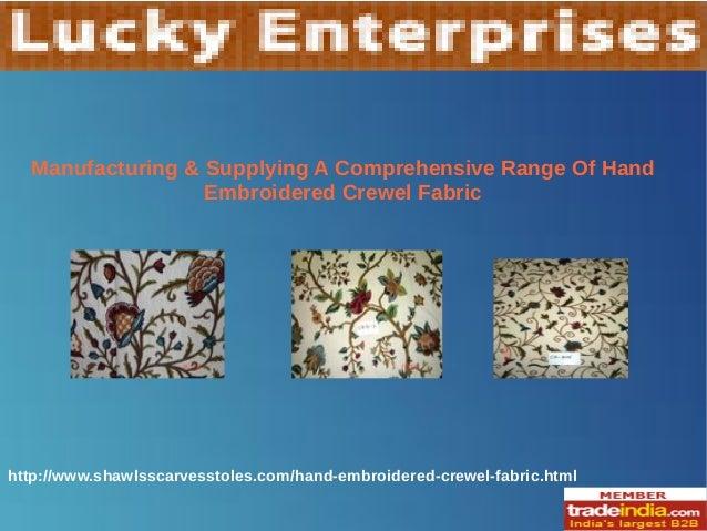 Hand Embroidered Crewel Fabric Exporter,Manufacturer,LUCKY ENTERPRISES