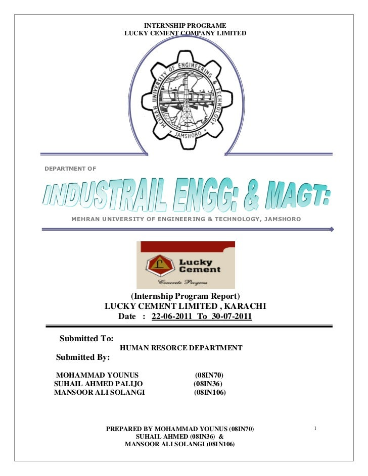 Lucky cement factory internship report