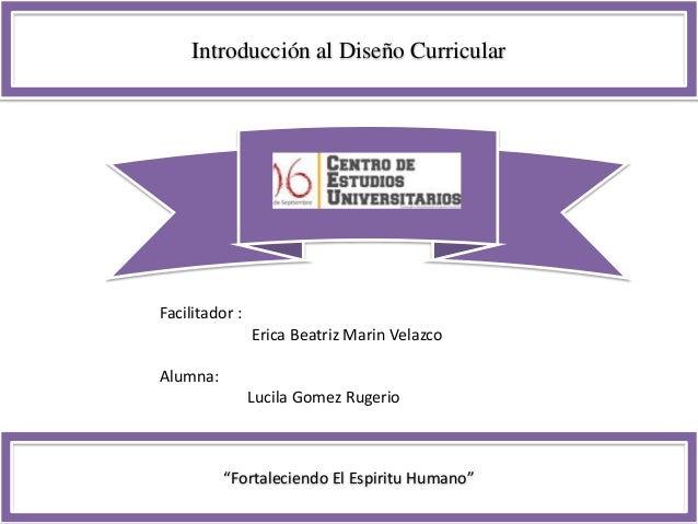 """Introducción al Diseño Curricular """"Fortaleciendo El Espiritu Humano"""" Facilitador : Erica Beatriz Marin Velazco Alumna: Luc..."""
