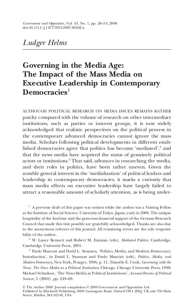 Ludger Helms Governing in the Media Age: The Impact of the Mass Media on Executive Leadership in Contemporary Democracies1...