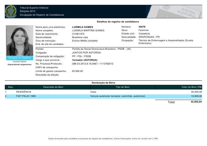 ELEIÇÕES 2012 - ASTORGA: Ludmila Gomesm 45678