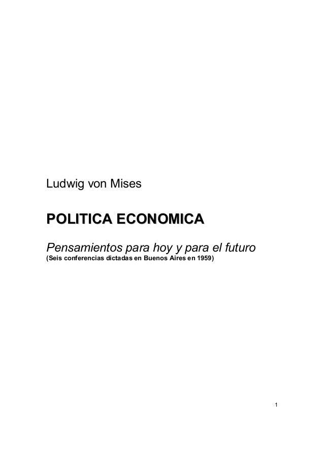 Ludwig von mises   política económica