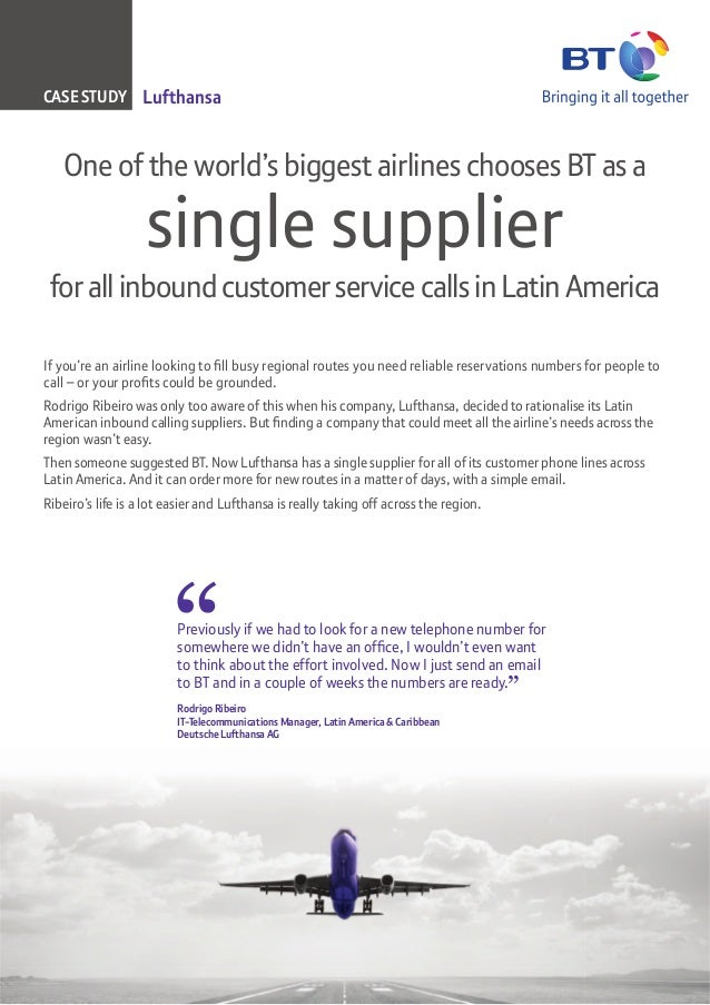 CASE STUDY Lufthansa   One of the world's biggest airlines chooses BT as a                   single supplier for all inbou...