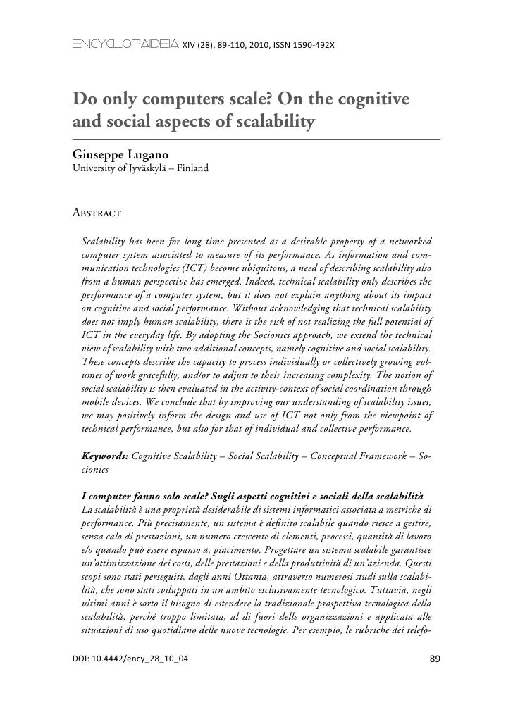 encyclopaideia XIV (28), 89-110, 2010, ISSN 1590-492XDo only computers scale? On the cognitiveand social aspects of scalab...