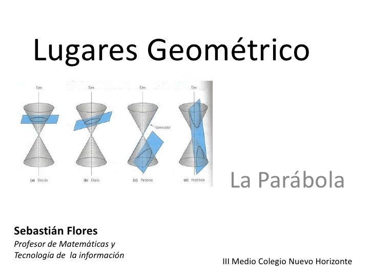 Lugares Geométrico <br />La Parábola <br />Sebastián Flores<br />Profesor de Matemáticas y Tecnología de  la información<b...