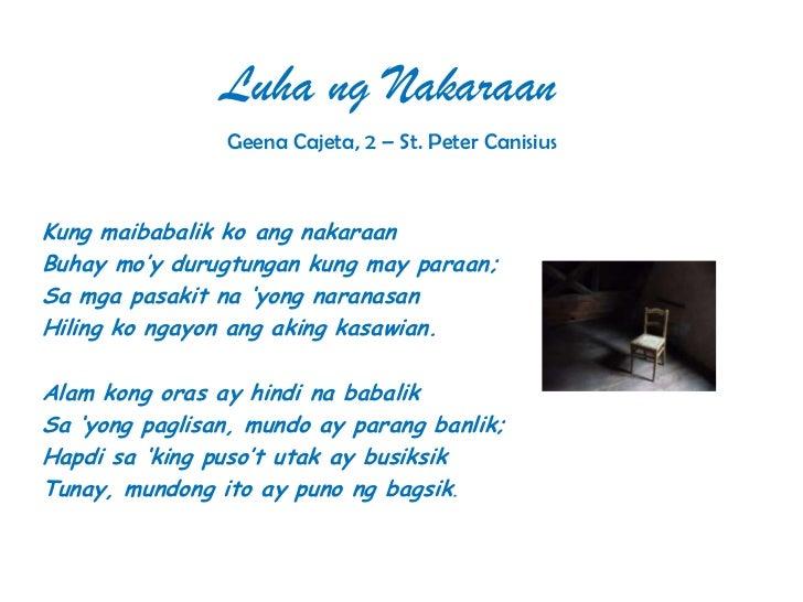 Luha ng Nakaraan                Geena Cajeta, 2 – St. Peter CanisiusKung maibabalik ko ang nakaraanBuhay mo'y durugtungan ...