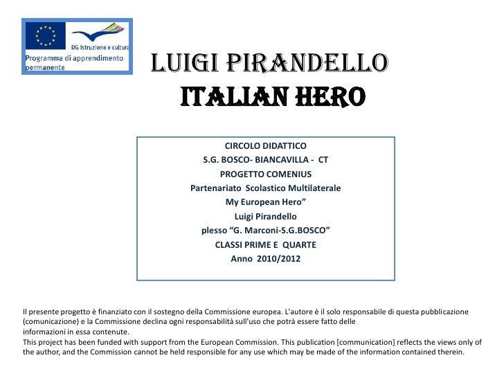 LUIGI PIRANDELLO                                      Italian Hero                                                        ...