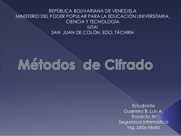 REPÚBLICA BOLIVARIANA DE VENEZUELA MINISTERIO DEL PODER POPULAR PARA LA EDUCACIÓN UNIVERSITARIA, CIENCIA Y TECNOLOGÍA IUTA...
