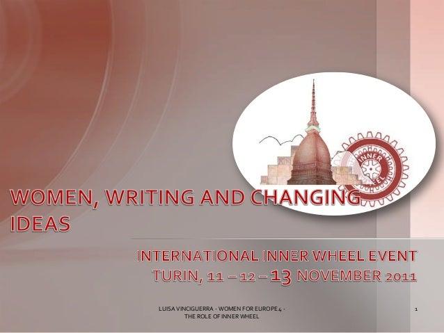 Luisa Vinciguerra, WOMEN FOR EUROPE4, ROUND TABLE, TURIN NOVEMBER 2011