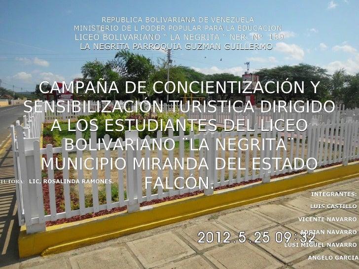 PROYECTO ECOTURISMO LA NEGRITA 2012