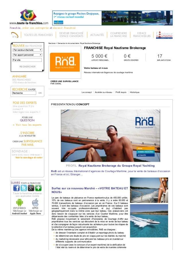9/3/2015 Franchise Royal nautisme brokerage - Votre bateau et nous - Franchise Nautisme http://www.toute-la-franchise.com/...