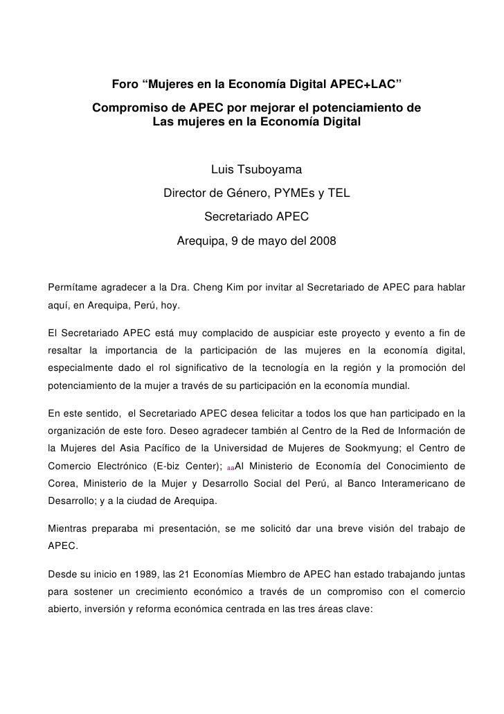 """Foro """"Mujeres en la Economía Digital APEC+LAC""""           Compromiso de APEC por mejorar el potenciamiento de              ..."""