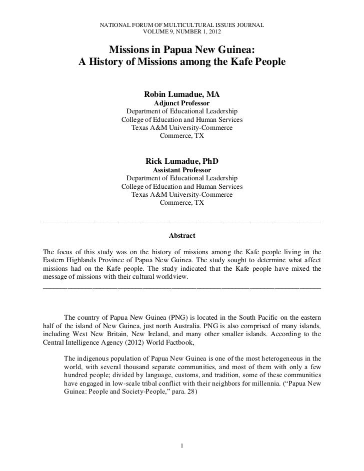 NATIONAL FORUM OF MULTICULTURAL ISSUES JOURNAL                               VOLUME 9, NUMBER 1, 2012                  Mis...