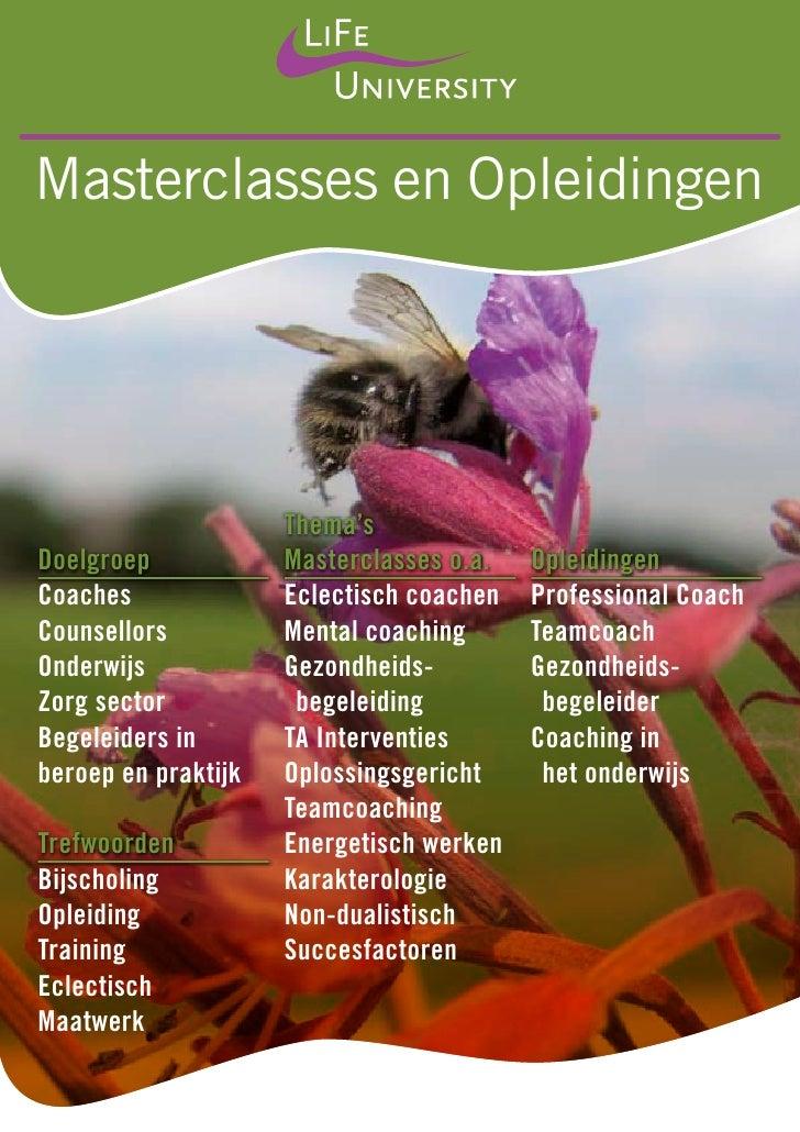 Masterclasses en Opleidingen                     Thema'sDoelgroep            Masterclasses o.a.   OpleidingenCoaches      ...