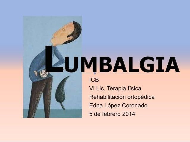  La lumbalgia o lumbago:  Una de las principales consultas médicas;  elevado gasto económico directo e indirecto.  No ...