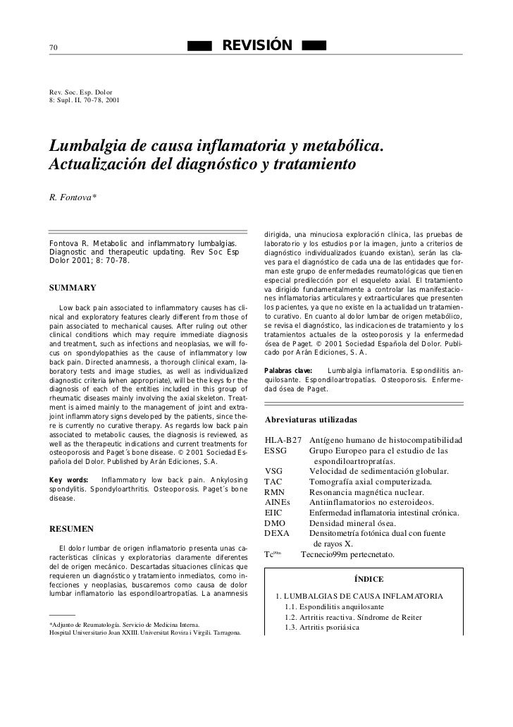 Lumbalgia de tipo inflamatorio